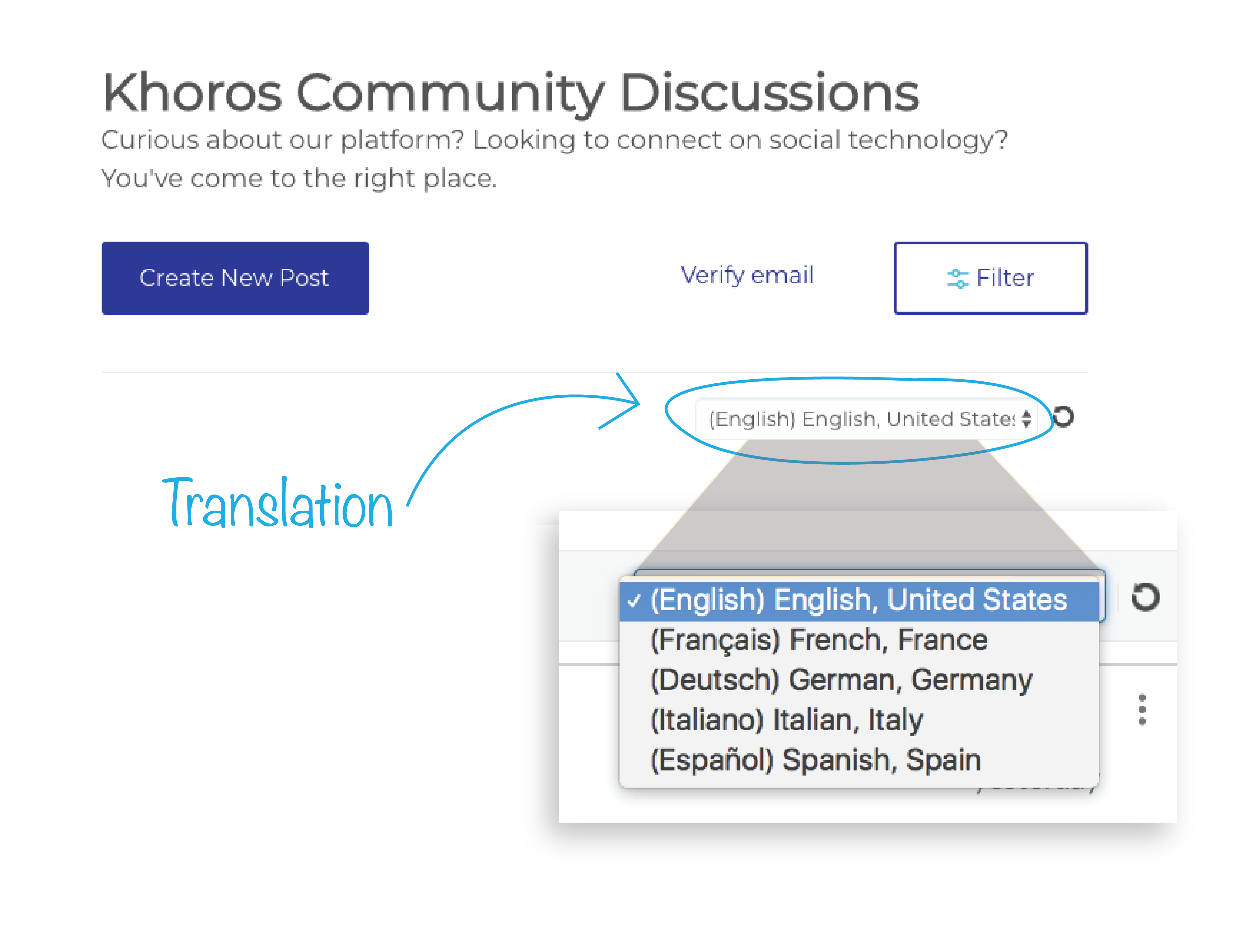 Locate the language and translation pull-down menu in Khoros online community