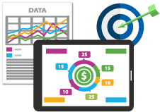 Data analytics and action icons